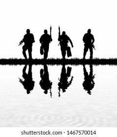 Navy seal silhouettes  on white background