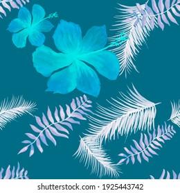 Navy Tropical Art. Pink Seamless Nature. Indigo Pattern Botanical. AzureSpring Leaf.Flower Palm. Drawing Nature. Decoration Hibiscus. Flora Leaves.