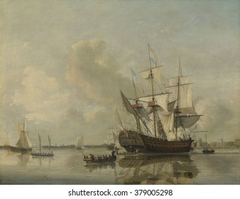 The Navy's Frigate 'Rotterdam' on the Maas off Rotterdam, by Nicolaas Baur, 1807, Dutch painting, oil on canvas. Rowboats service the warship in port as sailors work and wave from the ropes.