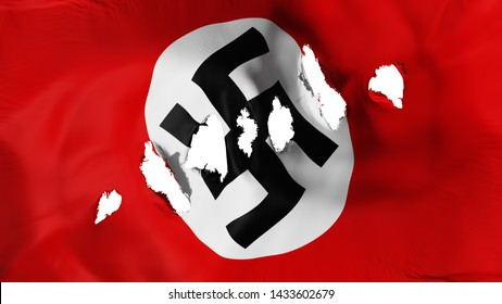 Nazi flag perforated, bullet holes, white background, 3d rendering
