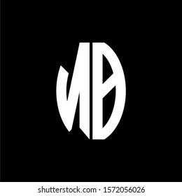 NB logo monogram designs template isolated on black background