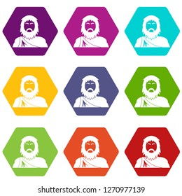 Neanderthal icons 9 set coloful isolated on white for web