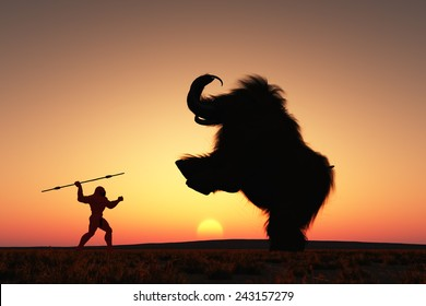 Neanderthal man hunting a woolly mammoth.
