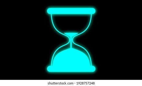 Near End - Hourglass Timer Neon Glow Icon on Black Background
