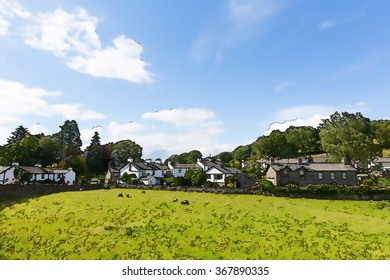 Near Sawrey village country view by Hawkshead Lake District former home to Beatrix Potter illustration like cartoon