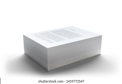 Neat stack of paper sheets isolated on white background. Documents. 3d illustration