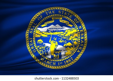 Nebraska 3D waving flag illustration. Texture can be used as background.