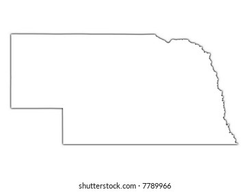 Nebraska (USA) outline map with shadow. Detailed, Mercator projection.