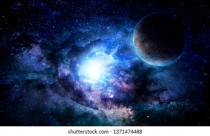 nebula and the planet in the glow of stars