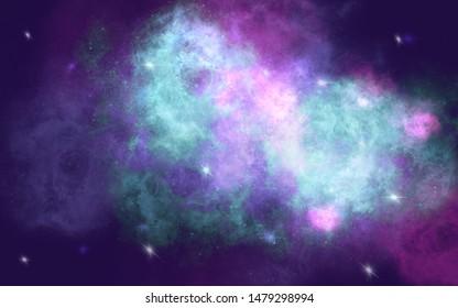 Nebular star galaxy on night sky background