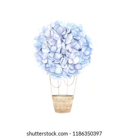 Nebulas blue aerostat balloon flowers. Watercolor hydrangea. Floral print for wedding card. Hand drawn  illustration