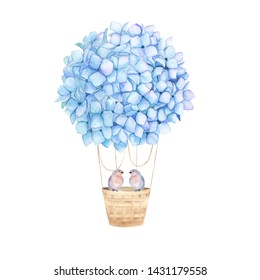 Nebulas blue aerostat balloon flowers. Watercolor hydrangea and couple birds. Floral print for wedding card. Hand drawn illustration