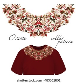 Neck print  floral design. Fashion white lace collar.  illustration. Pink brown