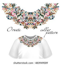 Neck print  floral design. Fashion colorful collar.  illustration. Blue pink brown