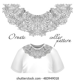 Neck print  floral design. Fashion lace collar.  illustration. Outline embroidery. One color.