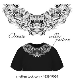 Neck print  floral design. Fashion white lace collar.  illustration. Black and white