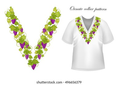 Neck print  floral design. Fashion grapes ornament collar.  illustration. Purple green