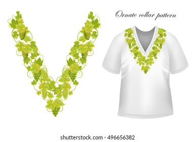 Neck print  floral design. Fashion grapes ornament collar.  illustration. Green