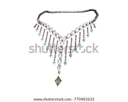 94ac08da398d Necklace Jewellery 3 D Rendering Stock Illustration 770483632 -  Shutterstock. necklace jewellery 3D rendering