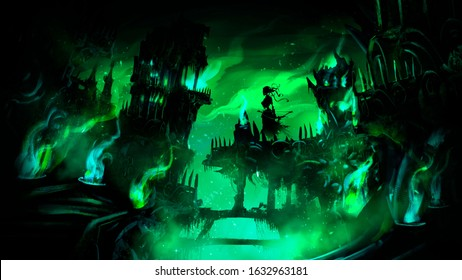 Necropolis, the city of the dead with many destroyed buildings, towers , bridges, covered with a mystical green flame, in the center of the composition hovers the Ghost of a woman with a bow . 2D