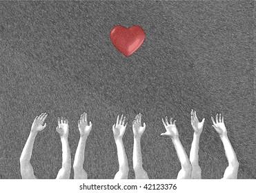 Need help hands or need love hands concept sketch