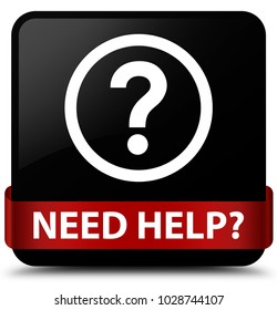 Need help (question icon) isolated on black square button with red ribbon in middle abstract illustration