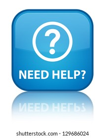 Need help? (question icon) glossy blue reflected square button