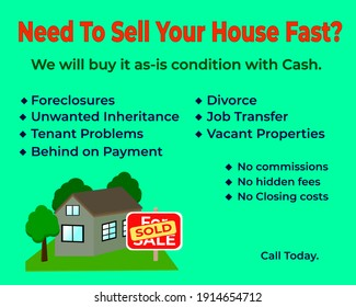 Need To Sell Your House Fast image. We buy any house for fast advertising picture.