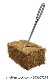 Needle in a haystack business or lifestyle concept with a giant sewing metal in a bale of hay as an icon of business guidance and easily finding what you are looking isolated on a white background.