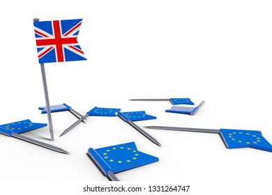 needles with europe flags and the uk flag brexit chaos symbolism 3D illustration