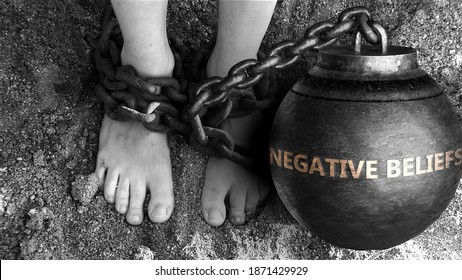 Negative beliefs as a negative aspect of life - symbolized by word Negative beliefs and and chains to show burden and bad influence of Negative beliefs, 3d illustration