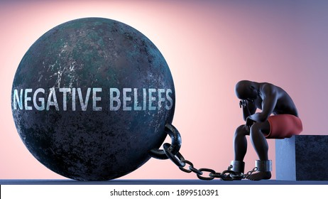 Negative beliefs as a heavy weight in life - symbolized by a person in chains attached to a prisoner ball to show that Negative beliefs can cause suffering, 3d illustration