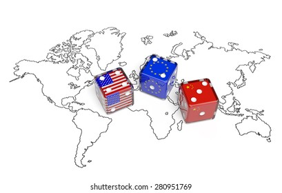 Negotiation political concept: dices with flags of USA, China and European Union on the world map symbolize foreign affairs, summit of countries, state interests, discussion on global issues