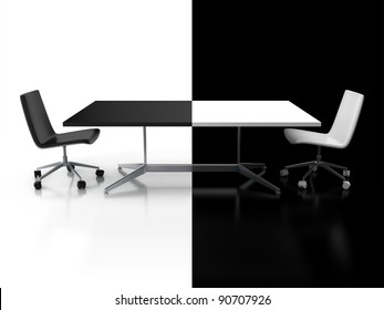 negotiations, confrontation 3d concept - black and white desk