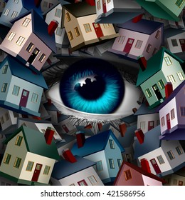 Neighborhood watch and home security concept as a group of houses covering a human eye ball as a realestate or inspection metaphor as a 3D illustration.