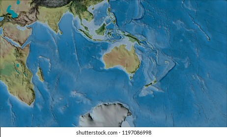 Neighborhoods of the Australian tectonic plate on the topographic map in the van der Grinten I projection (oblique transformation). Raw composite - no outlines