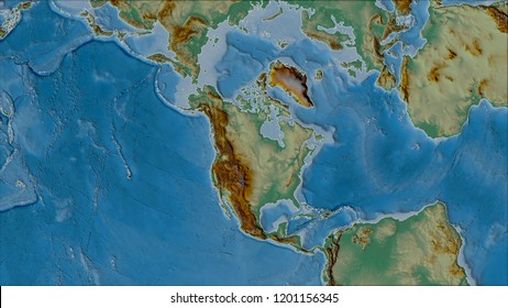 Neighborhoods of the North American tectonic plate on the relief map in the van der Grinten I projection (oblique transformation). Raw composite - no outlines. 3D illustration