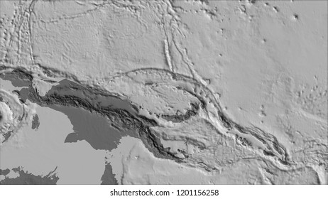 Neighborhoods of the North Bismarck tectonic plate on the bilevel elevation map in the van der Grinten I projection (oblique transformation). Raw composite - no outlines. 3D illustration
