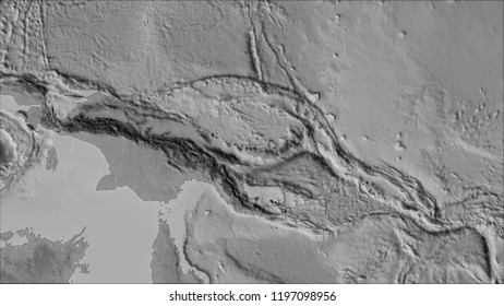 Neighborhoods of the South Bismarck tectonic plate on the grayscale map in the van der Grinten I projection (oblique transformation). Raw composite - no outlines