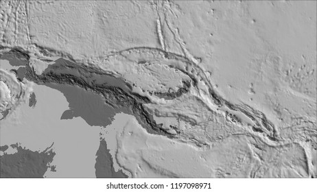 Neighborhoods of the South Bismarck tectonic plate on the bilevel elevation map in the van der Grinten I projection (oblique transformation). Raw composite - no outlines