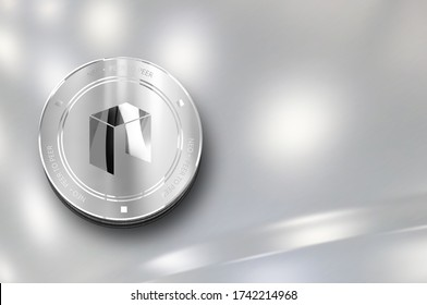 Neo digital crypto currency. Silver coin. Cyber money. 3D Render.