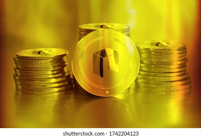 Neo digital crypto currency. Stack of golden coins. Cyber money. 3D Render.