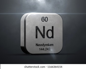 Neodymium element from the periodic table. Metallic icon 3D rendered with nice lens flare