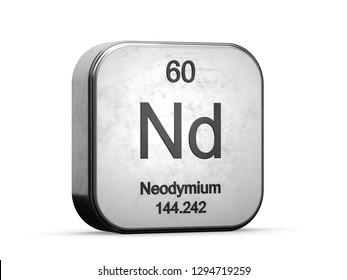 Neodymium element from the periodic table series. Metallic icon set 3D rendered on white background
