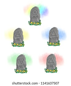 Neolithic standing stones with symbols of the five wiccan elements carved into the rocks with coloured mist in the background.