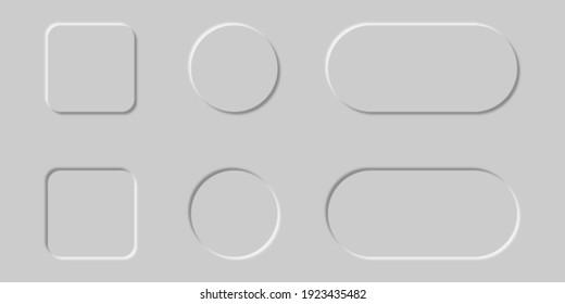 Neomorphic buttons set. Design for websites, mobile menu, navigation and apps.