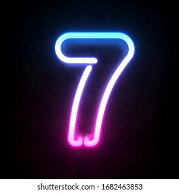 Neon 3d font, blue and pink neon light 3d rendering, number 7