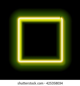 Neon abstract square for your design. Luminous electric frame square on a black background