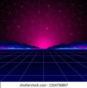 Neon background template. Electric light perspective. Retro computer games, sci-fi technology, vintage graphics and holographic projection concept.