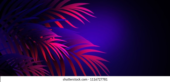 Tropical Leaves Neon Images Stock Photos Vectors Shutterstock Female hand, showing beauty and skin care symbolism and holding paper craft pink palm leaves. https www shutterstock com image illustration neon background tropical leaves 1116727781